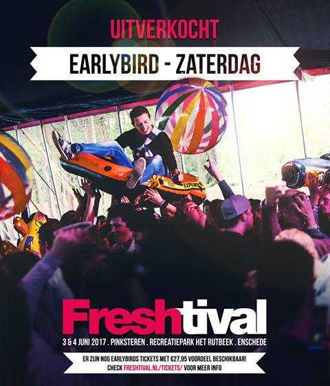 Earlybird zaterdag uitverkocht! Earlybird weekend nog beschikbaar!